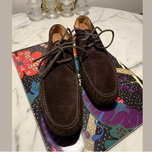 Ralph Lauren Dark Brown Suede Moccasin Ankle Boots